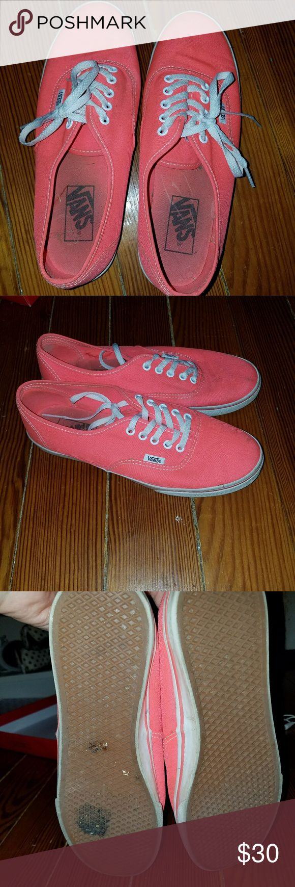 Coral Vans These shoes are so pretty and the color is really bright in person!! I love these but they are too small for me now! They have been worn but not for that long, they have been sitting in my closet unworn for a while now since they are too small.  They go very well with a cute dress!! They still have a lot of wear left in them, price is negotiable! Vans Shoes Sneakers