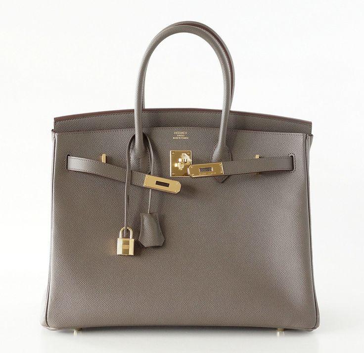 HERMES BIRKIN 35 bag ETAIN gray epsom gold hardware