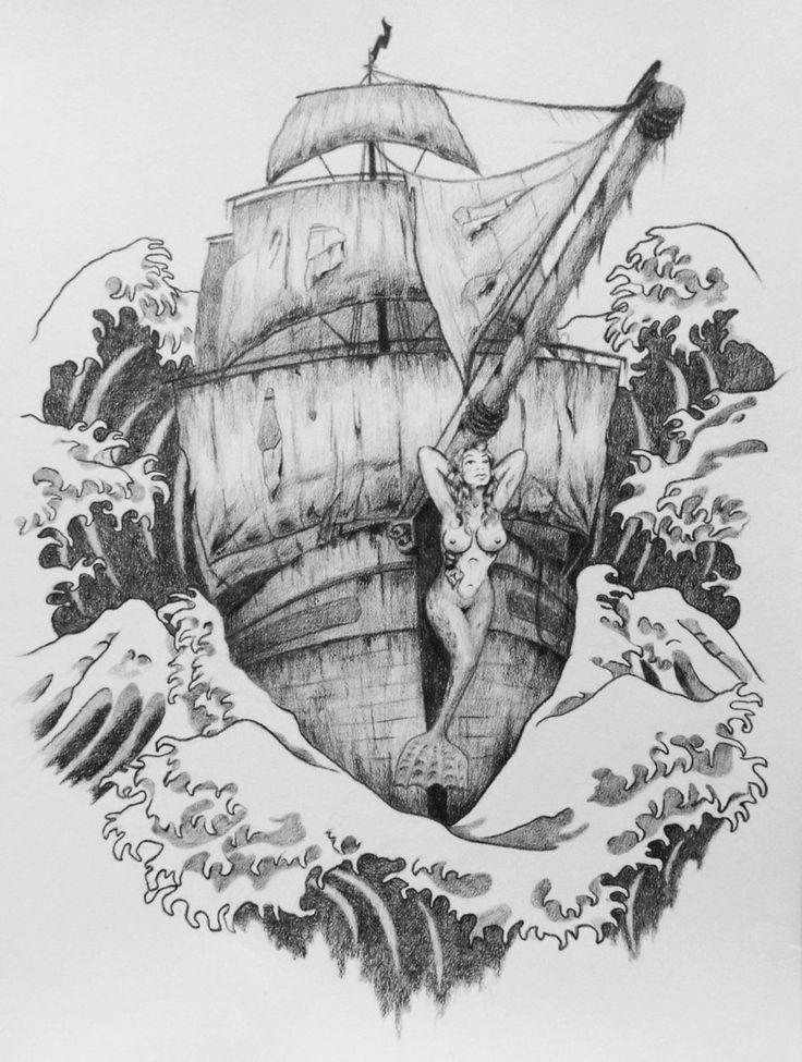 Sailing ship tattoo design, mermaid masthead