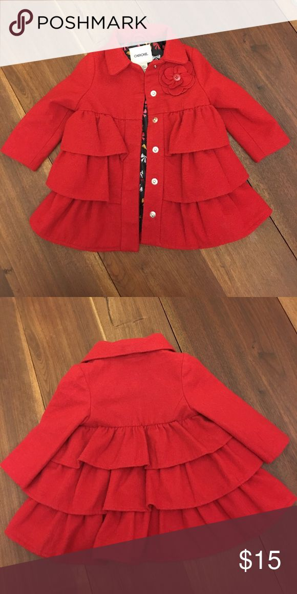 Cherokee Red Wool Coat 12 mo Cherokee brand polyester wool jacket. Cut out layered flower and adorable inside liner.  So cute on.  Runs a little big. My daughter wore this up through 17 mo. Jackets & Coats Pea Coats