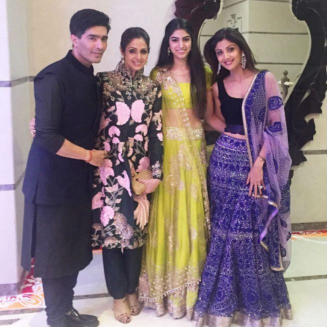 Sridevi, daughter Khushi and Manish Malhotra with the hostess at Shilpa Shetty and Raj Kundra's #Diwali bash. #Bollywood #Fashion #Style #Beauty #Hot #WAGS #Desi