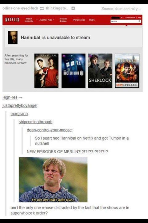 Gosh, Netflix is so mean sometimes. There will NEVER be new eps of Merlin. Ever. *sob*