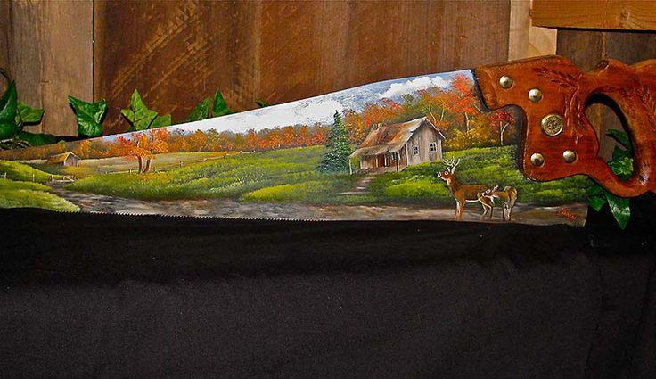 Fall Log Cabin with Deer Handsaw | Joyces Creative Country