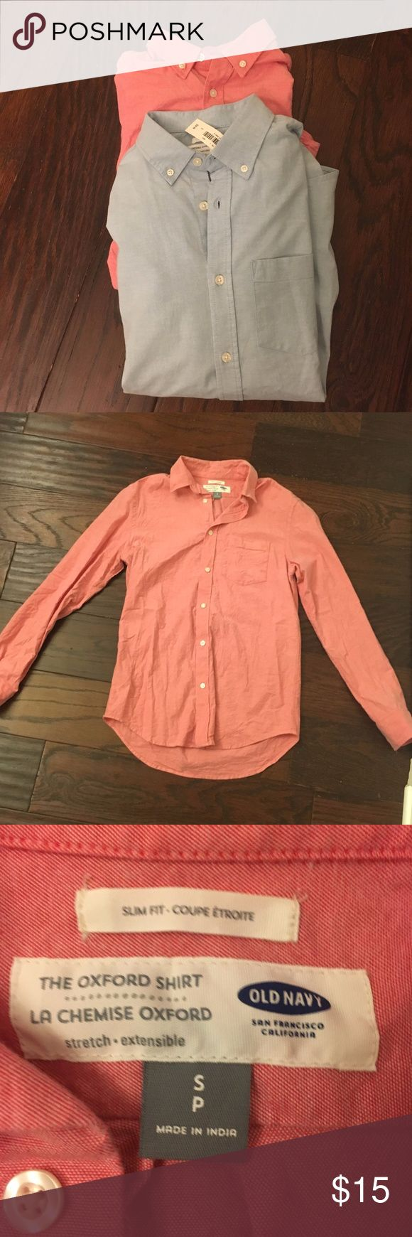Set of Oxford Shirts Men's Size Small A coral and light blue slim fit men's button down in size Small. Super cute for men and women! The light blue Oxford still has tags. Old Navy Shirts Casual Button Down Shirts