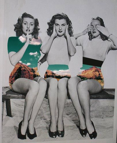 :::: ♡ ✿⊱╮☼ ☾ PINTEREST.COM christiancross ☀❤•♥•* :::: Collage retro vintage  +++ THE CHINESE 3 MONKEYS