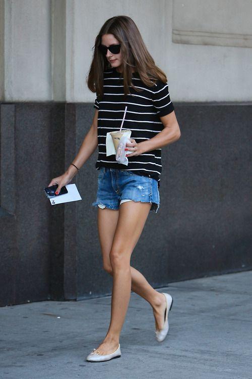 Casual Summer Style: RayBans, Breton Stripes, Denim Shorts & Plain Pumps | Olivia Palermo