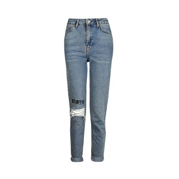 Topshop Moto Chinese Symbol Embroidered Mom Jeans (€25) ❤ liked on Polyvore featuring jeans, pants, bottoms, calças, bleach, ripped jeans, bleached blue jeans, high waisted ripped jeans, high rise jeans and high-waisted jeans