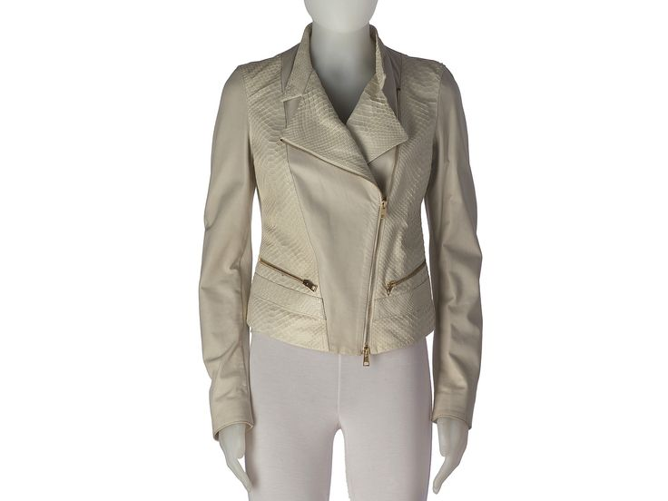 Jacket in leather with inserts in python.  Designed and made in Italy by Letusbe.