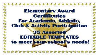 Included are 35 COMPLETELY EDITABLE, elementary year end award certificates for achievements, club participation, volunteers, and more!  All are Word documents, designed to offer a template so you dont need to completely reinvent the wheel.  Please, click on preview for a better overview!I make these for my school at the end of the school year, for the adult volunteers and the children in different clubs and/or who have earned special achievements.