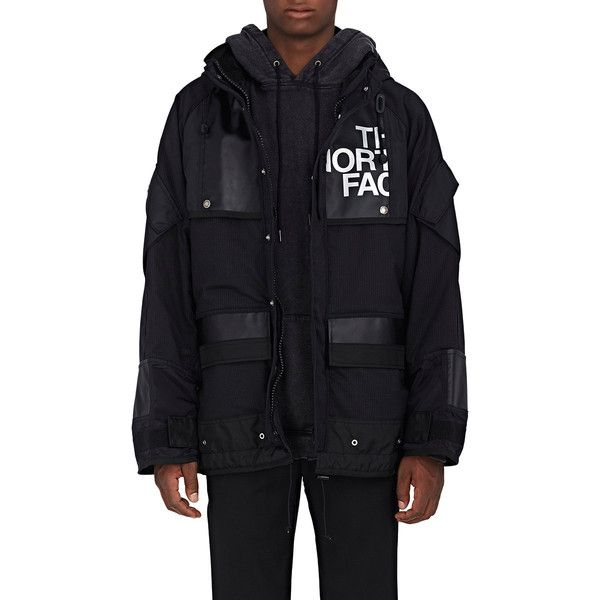Junya Watanabe Man Comme des Garçons Men's Patchwork Hooded Coat (15.410 HRK) ❤ liked on Polyvore featuring men's fashion, men's clothing, men's outerwear, men's coats, black, mens hooded long coat, mens oversized coat, mens hooded coats, mens long coat and mens coats