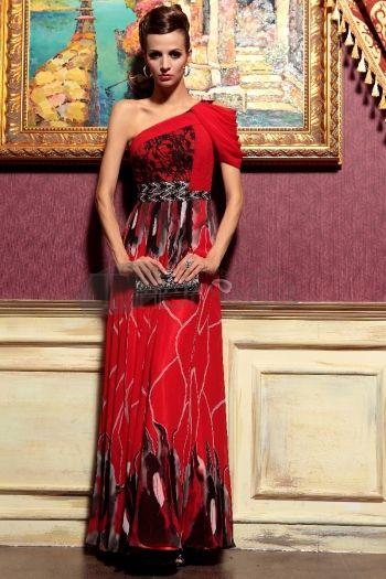 Abiti in Magazzino-una spalla ha bordato celebrità abiti lunghi rossi per le donne
