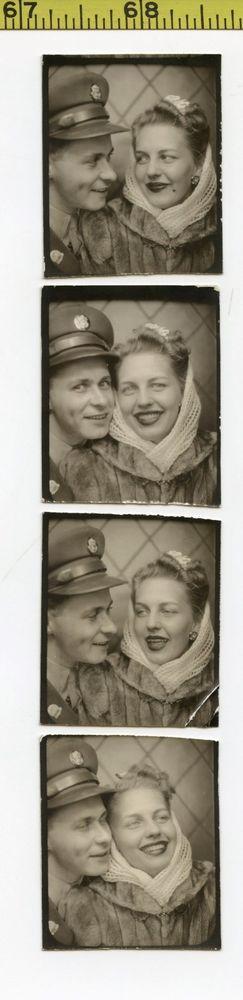 (4) Vintage 1940's BOOTH photos / GI & Sexy Girlfriend w/ Vanishing Beauty Mark