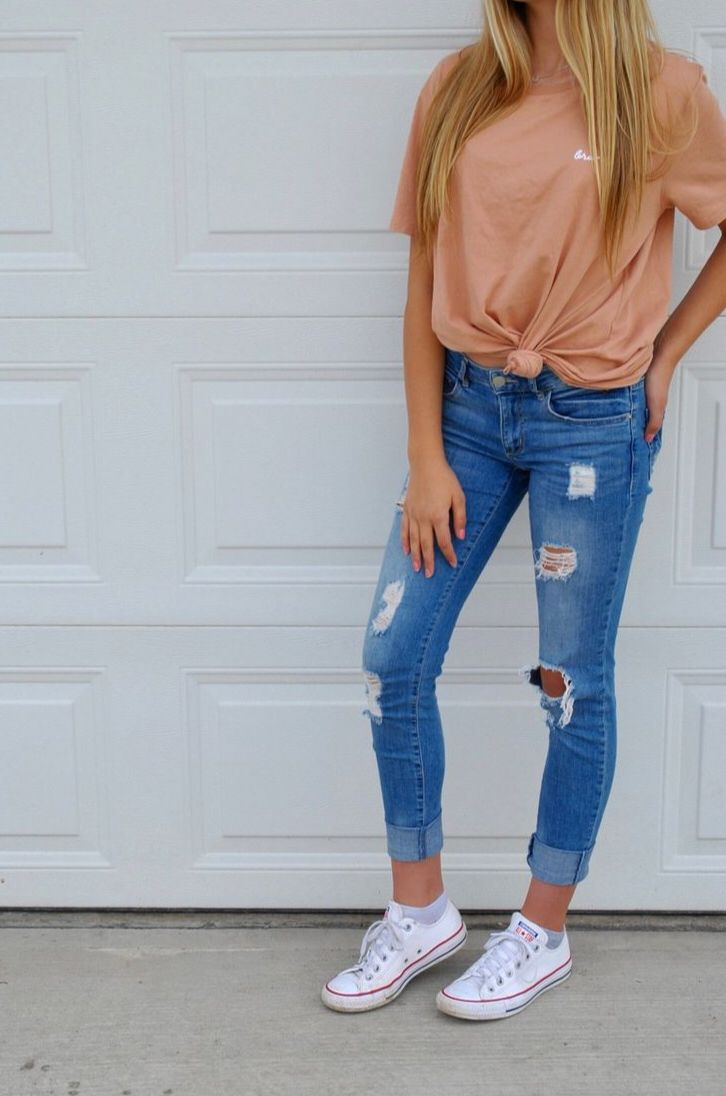 Cute Orange Shirt With Ripped Jeans And Converse With Images