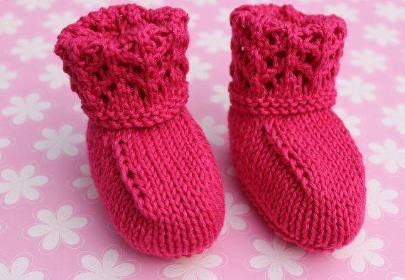 Pink Crib Shoes Baby Booties Baby Shoes Baby Girl by Pinknitting