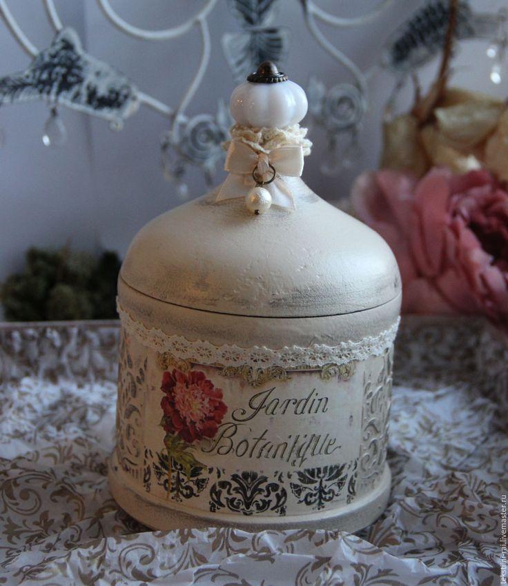 """Купить Баночка для ватных палочек из коллекции  """"Флер"""" - бежевый, емкость для хранения, емкость, для ванной комнаты"""
