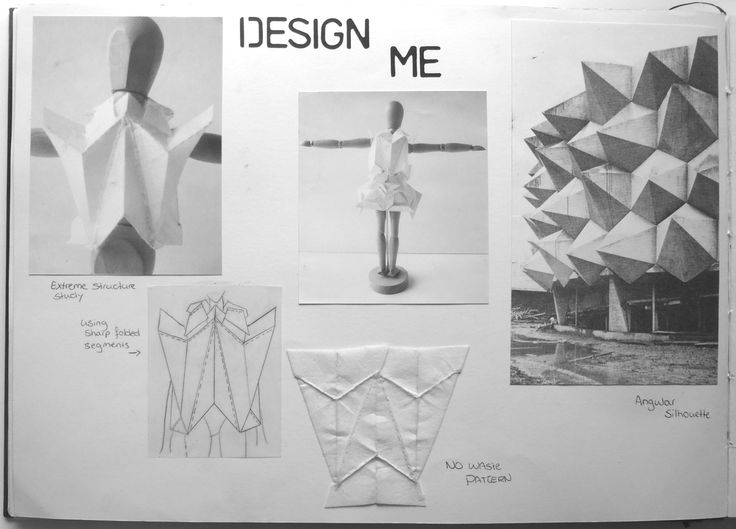 Fashion Sketchbook - geometric fashion design development; fashion portfolio // Rosa Kramer