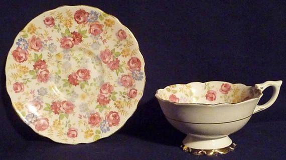 FOR SALE! Vintage Teacup and Saucer Royal Stafford June Roses
