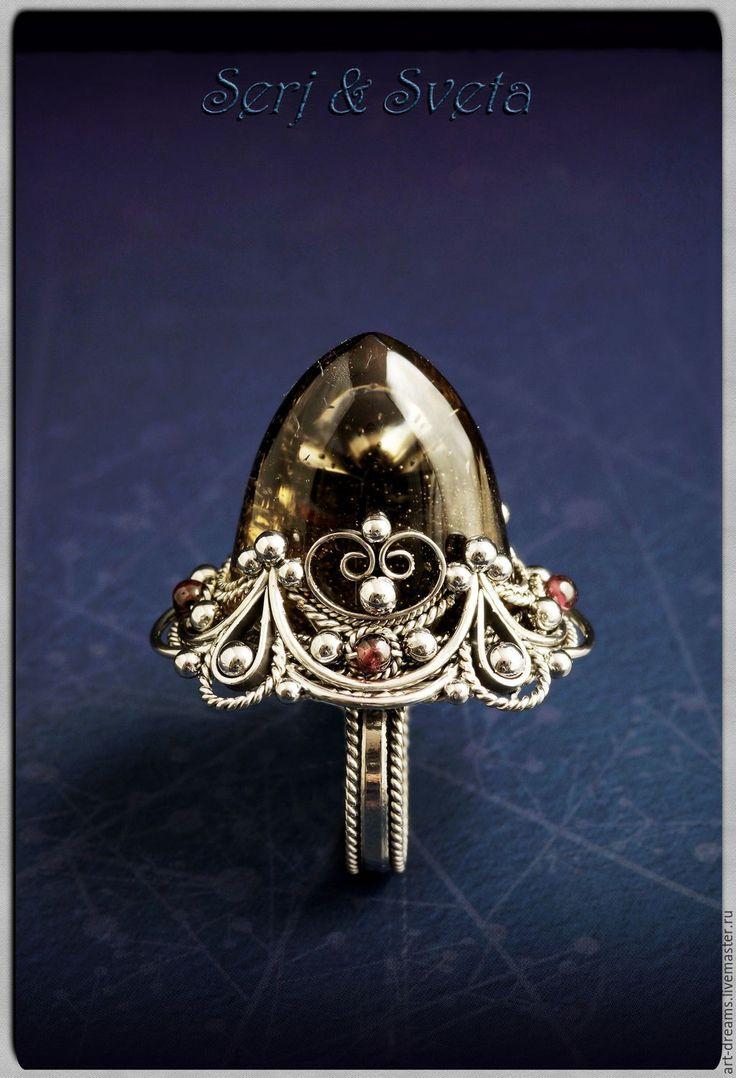 """Купить Перстень с раухтопазом """"Вершина Мира"""" - коричневый, раухтопаз, дымчатый кварц, кольцо с раухтопазом"""