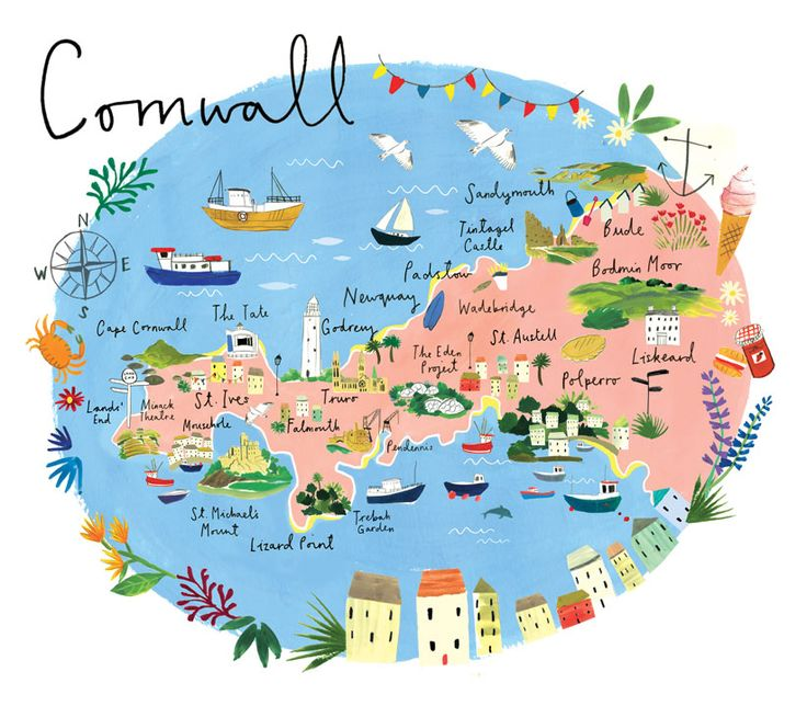 Map of Cornwall - Clair Rossiter http://www.clairrossiter.com/