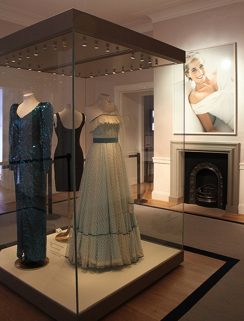 1980 dress. The pale blue evening dress was worn at an Althorp ball in 1980. Diana later gifted the dress to her wax statue at Madam Tussauds in 1981 when her engagement was announced