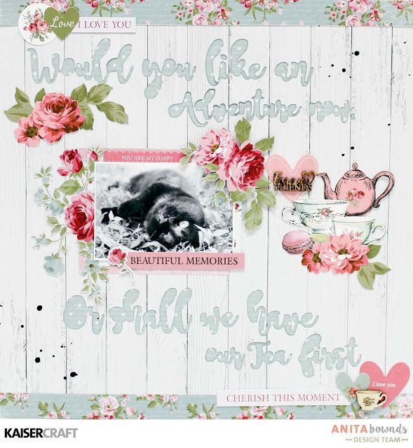 'Beautiful Memories' Layout and process video with Anita Bownds DT member for Kaisercraft Official Blog using their new April 2017 collection 'High Tea'. Learn more at kaisercraft.com.au/blog ~ Wendy Schultz ~ Scrapbook Layouts.