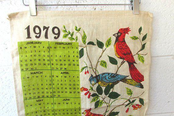 Vintage 1979 Calendar Tea Towel Vintage Bird Towel Kitchen Towel