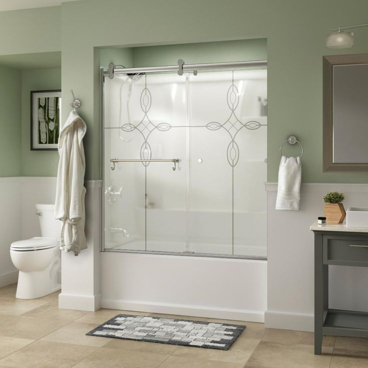 Delta Portman 60 in. x 58-3/4 in. Semi-Frameless Contemporary Sliding Bathtub Door in Chrome with Tranquility Glass