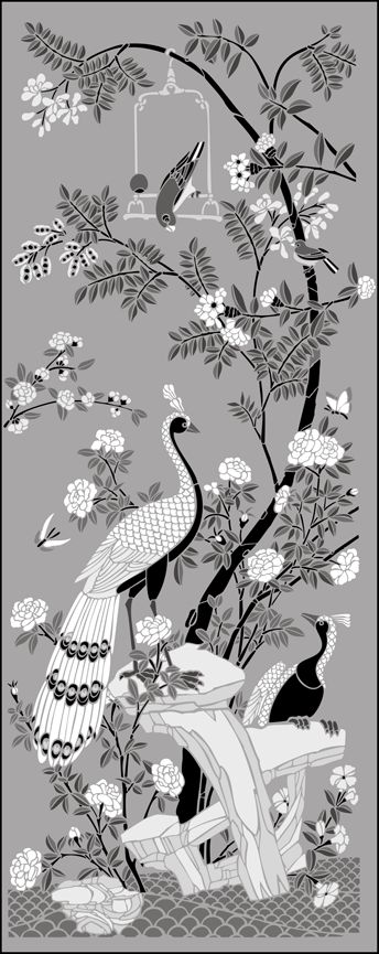 Click to see the actual CH11 - Peacock Panel stencil design.
