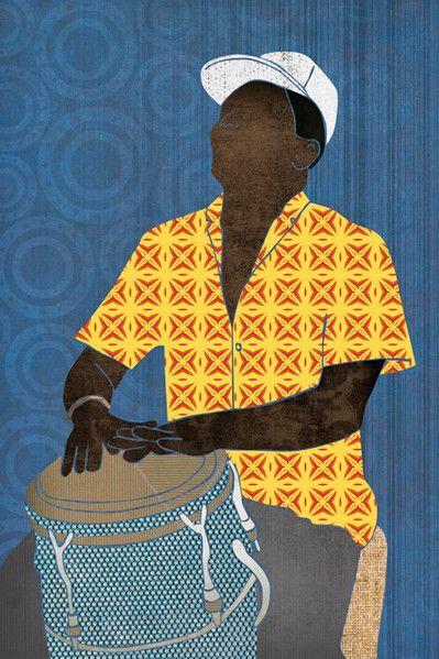 Conguero by Janet Carlson/ Aquamarine Studio Musician, drum, conga drum, conga, tumbadora, Cuba, Cuban drum, Afro-Caribbean, rumba, dance music, Latin music, salsa, mambo, meringue, reggae, rumberos, musical instrument, hand drummer, concert, music