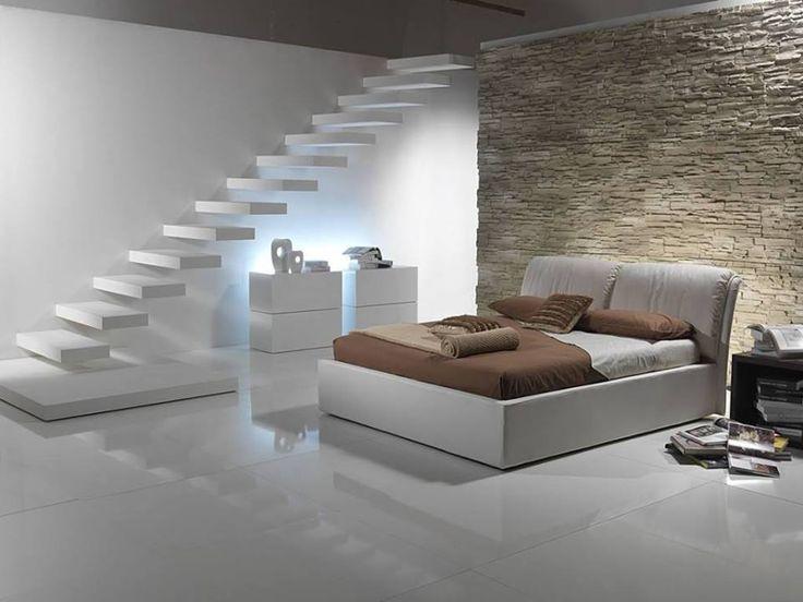 Minimál hálószoba lebegő lépcsővel