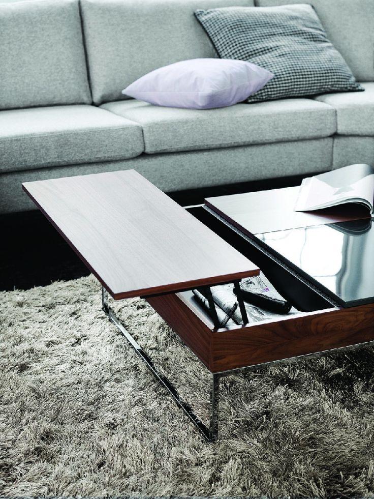 Chiva moderní konferenční stolek - ořechová dýha a sklo / coffee table