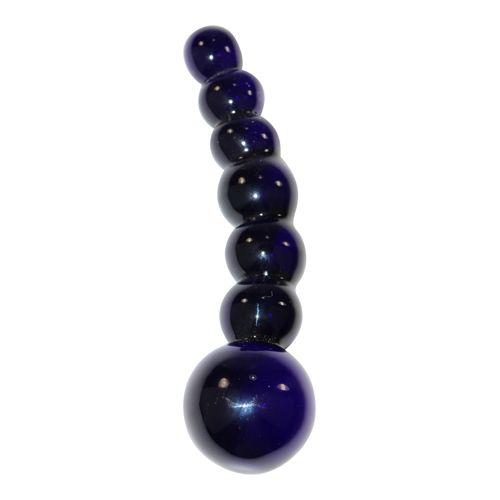 Bolvormige glazen dildo Icicles No 66 zwart