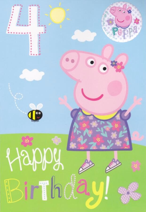 Peppa Pig Birthday Card Unique Peppa Pig Age 4 Birthday Card With Badge Pig Birthday Peppa Pig Birthday Party Peppa Pig Happy Birthday