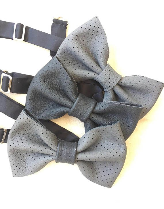 Bowtie/Wedding/Grey bowties/Formal/Casual wear/Leather bow tie/Men's bowtie/gift box/Mens accessories/Bow ties/Gift for him/Wedding bowtie