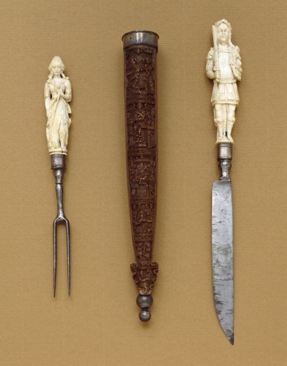 Knife-and-Fork Set with Mars and DianaKnife-and-fork sets were common wedding presents among the elite in Flanders and the Dutch Republic during the 1600s. Pairing forceful Mars, god of war, with virtuous but resourceful Diana, goddess of the hunt, was a gesture to the qualities that couples saw in each other.