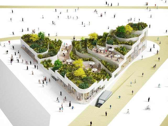 Amsterdam-based NL Architects transform an unlovable building typology--the supermarket box--into a green oasis.