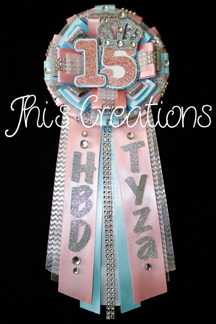 Tyza's 15th birthday pin/mum/corsage in light pink, baby blue, white, and silver #JhisCreations