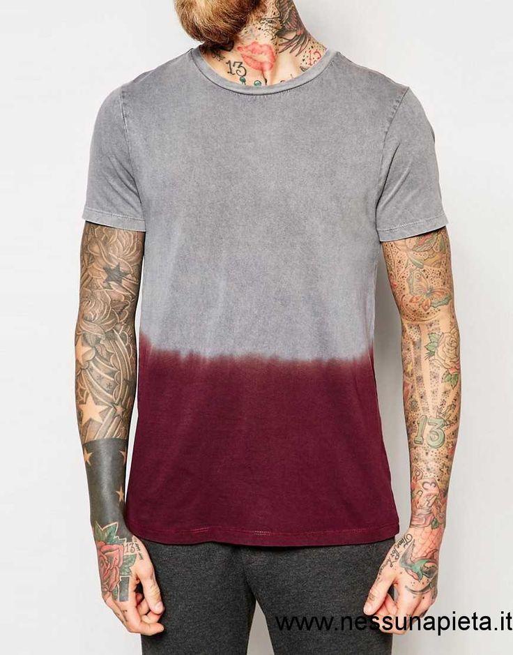 OE29002317 Donne / Uomo - Asos - T-shirt Dip-dye Lavaggio Acido - Grigio/Bordeaux,Grey/Burgundy