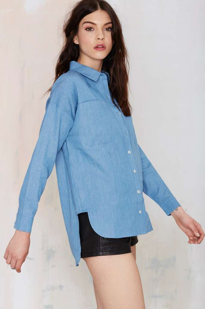 You can't go wrong with the Nasty Gal Tennessee Chambray Blouse.