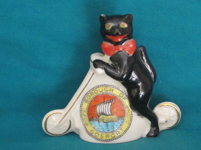 Arcadian No.16 Black Cat On Scooter - BOROUGH OF GOSPORT crest