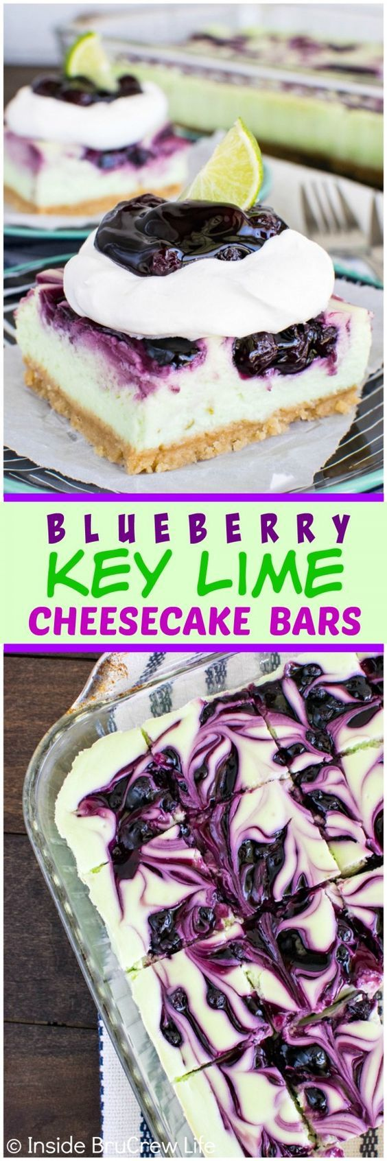 Blueberry Key Lime Cheesecake Bars - swirls of pie filling make these ...