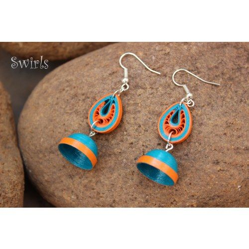 Teal and Orange Paper Quilled Jhumkas