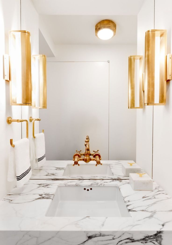 Contemporary Bathroom With Golden Wall Sconces And Towel Holder Also Brass Faucet Brass Bathroom Faucets Can Be Best Choice Check more at http://www.wearefound.com/brass-bathroom-faucets-can-be-best-choice/