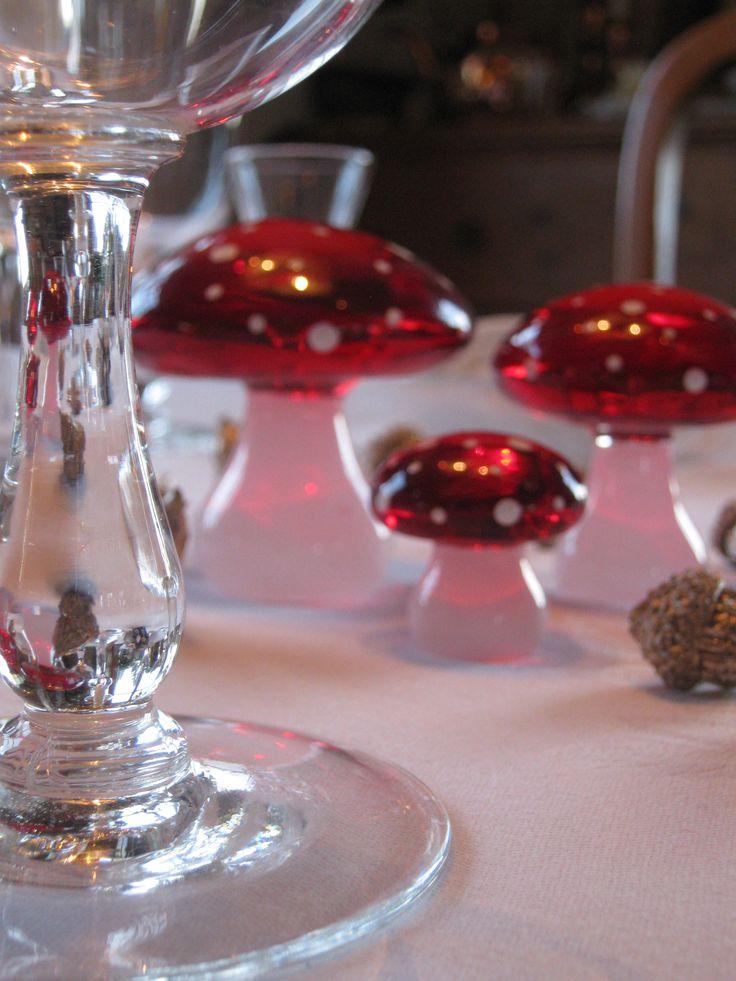 Glass mushroom ornaments from Hadeland Glassverk. I use them for christmas table settings.