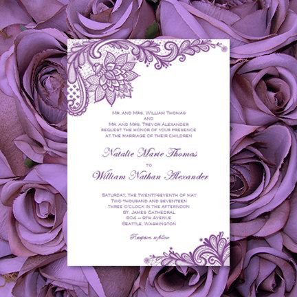 Vintage Lace Wedding Invitations Purple Printable Template Editable Word.doc Instant Download Order Any Color DIY You Print