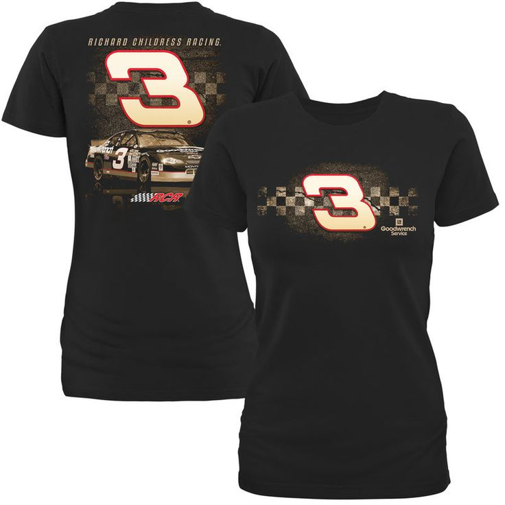 #3 GM Goodwrench Service Richard Childress Racing Team Collection Women's Sepia T-Shirt - Black