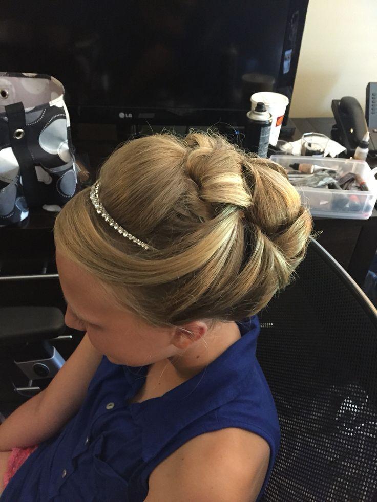 Junior bridesmaid hair style up do bridal Hair style long hair