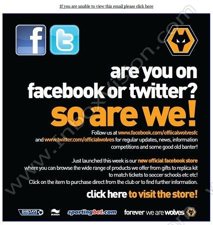 51 best email designs facebook integration images on pinterest brand wolverhampton wanderers fc subjectfollow us on facebook and twitter pronofoot35fo Gallery