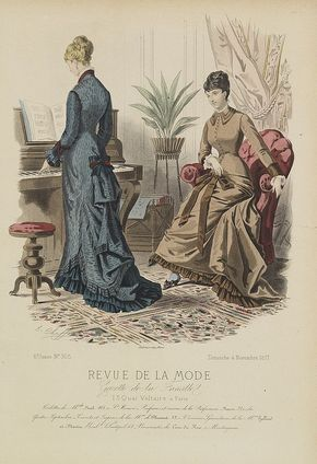 1877 REVUE DE LA MODE - Paris fashion plate.