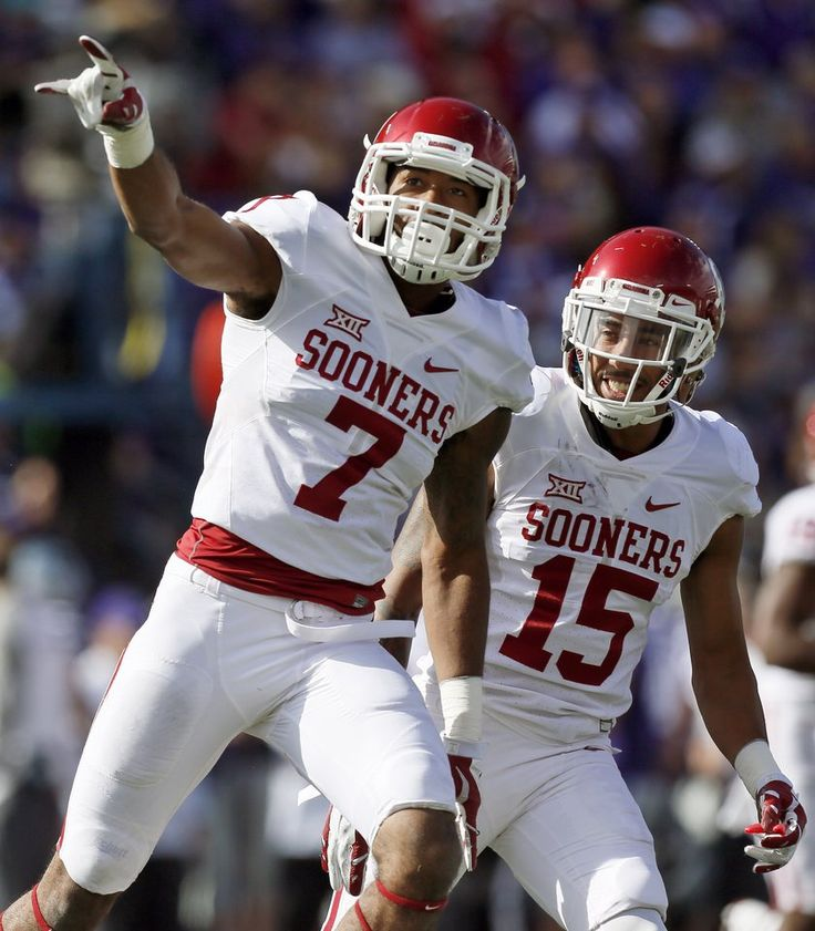 Oklahoma's Jordan Thomas (7) and Zack Sanchez (15) celebrate an interception by Thomas in the first quarter during a college football game between the University of Oklahoma Sooners (OU) and the Kansas State Wildcats (KSU) at Bill Snyder Family Stadium in Manhattan, Kansas, Saturday, Oct. 17, 2015. Photo by Nate Billings, The Oklahoman